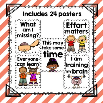 24 Growth Mindset Printable Posters | Color, Black and White | 4 sizes