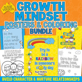 Growth Mindset Posters & Coloring Pages Bundle - Kindness Bulletin Boards - A4