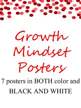 Growth Mindset Posters Confetti Theme