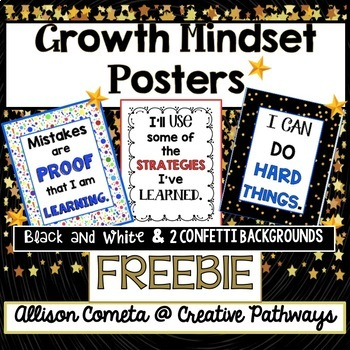 Growth Mindset Posters, Confetti Theme, Freebie
