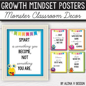 Growth Mindset Posters EDITABLE- Monster Classroom Decor