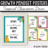 Growth Mindset Posters EDITABLE- Tropical Classroom Decor