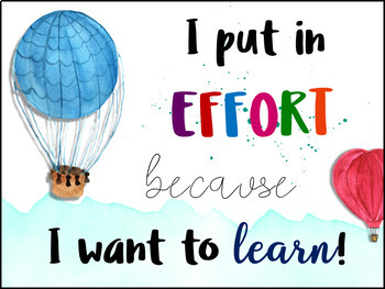 Growth Mindset Posters | EDITABLE | - Watercolor Hot Air Balloon Theme