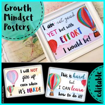 Growth Mindset Posters | EDITABLE | - Hot Air Balloon