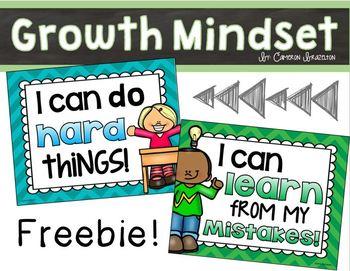 Growth Mindset Posters Editable Freebie