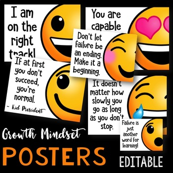 Growth Mindset Posters: Emoji Theme (EDITABLE)