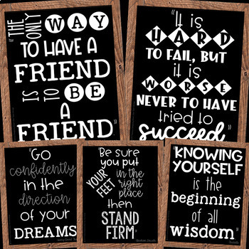 Growth Mindset Posters Farmhouse Chalkboard Design