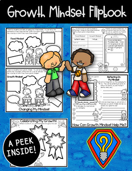 Growth Mindset Posters, Flipbook, Bookmarks, and Pennant (Elementary Style)