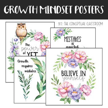 Growth Mindset Posters - Floral Classroom Decor Theme