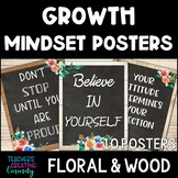 Growth Mindset Posters Floral Farmhouse Wood