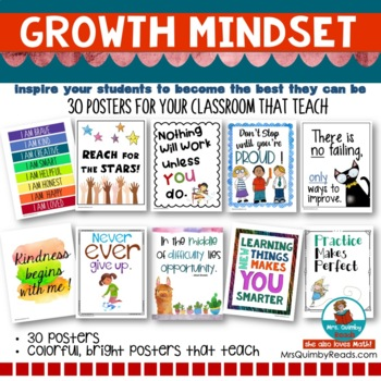 Motivational Growth Mindset Posters | Teaching Responsibility | Classroom Decor
