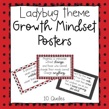 Growth Mindset Posters-Ladybug Theme