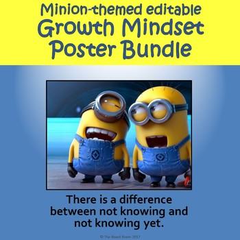 Growth Mindset Posters - Minion-themed Bundle (editable)