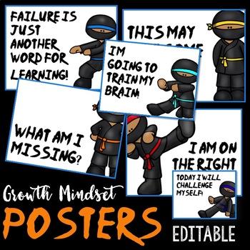 Growth Mindset Posters: NINJA (EDITABLE)
