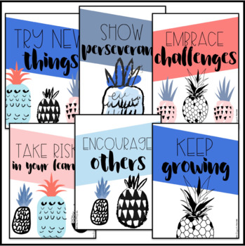 Growth Mindset Posters   Pineapple Posters