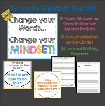 Growth Mindset Posters, Quotes, and Journal Pages Bundle- White Backgound