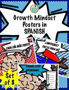 Growth Mindset Posters Set of 8 in SPANISH