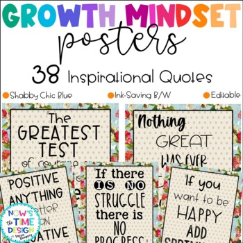 Growth Mindset Posters Shabby Chic Blue Design
