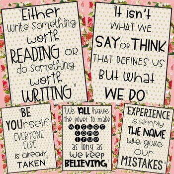 Growth Mindset Posters Shabby Chic Pink Design