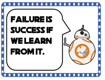 Growth Mindset Posters Star Wars Theme 40 total AVID Weekly Poster for classroom