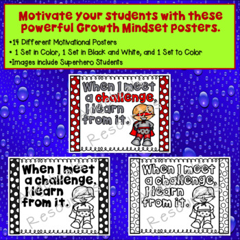Growth Mindset Posters - Superhero Students  (Including Coloring Pages)