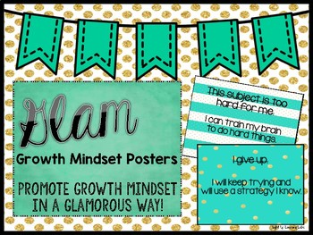 Growth Mindset Posters: Teal & Gold