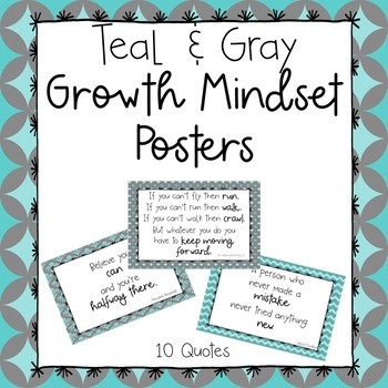 Growth Mindset Posters-Teal and Gray