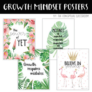 Growth Mindset Posters - Tropical Theme Classroom Decor