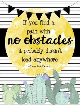 Growth Mindset Posters -- Chic watercolor cactus themed!