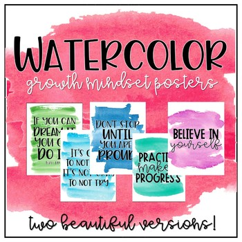 Growth Mindset Posters (Watercolor)