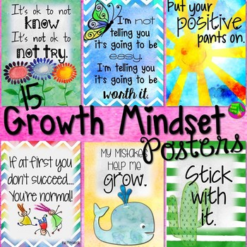 Growth Mindset Posters Watercolor Theme