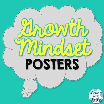 Growth Mindset Posters | Yellow, Gray, and Teal | Set of 6