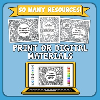 Growth Mindset Posters You Can Color: 50 Poster Bundle!