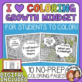 Growth Mindset Coloring Pages: Fixed vs. Growth Mindset Set