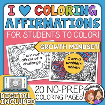 Growth Mindset Posters Your Students Can Color! Growth Mindset Affirmations Set