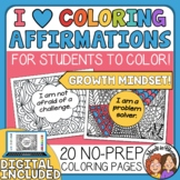 Growth Mindset Coloring Pages Affirmations Set Includes Di