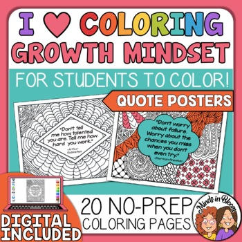 Growth Mindset Posters Your Students Can Color! Growth Mindset Quotes Set