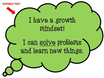 Growth Mindset EDITABLE SET (for Pocket Chart and Bulletin Board)