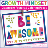 Motivational Classroom Posters and Growth Mindset Coloring Pages