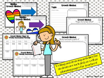 Growth Mindset Posters and Writing Activities (Big Kids/Middle School Theme)