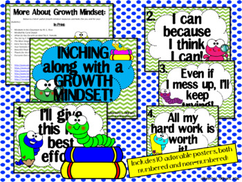 Growth Mindset Posters and Writing Activities (Bookworm Theme)