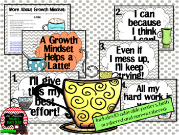 Growth Mindset Posters and Writing Activities (Coffee Shop Theme)