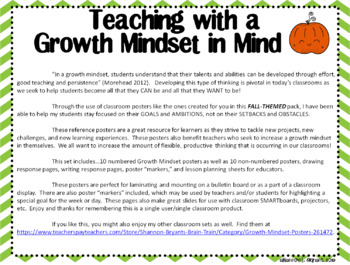 Growth Mindset Posters and Writing Activities (Fall Pumpkin Patch Theme)