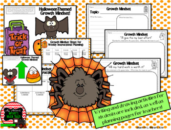 Growth Mindset Posters and Writing Activities (Halloween Candy Corn Theme)