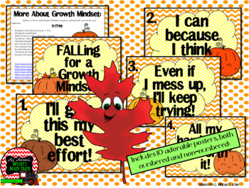 Growth Mindset Posters and Writing Activities (Halloween Pumpkin Patch Theme)