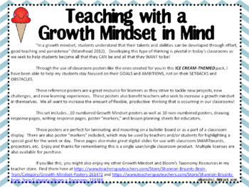 Growth Mindset Posters and Writing Activities (Ice Cream Theme)