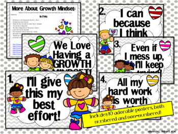 Growth Mindset Posters and Writing Activities (Kind Kids Theme)