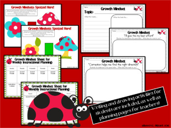 Growth Mindset Posters and Writing Activities (Ladybug Green Chevron)