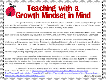 Growth Mindset Posters and Writing Activities (Ladybug Grey Chevron)