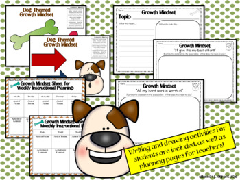 Growth Mindset Posters and Writing Activities (Puppy Dog Theme)